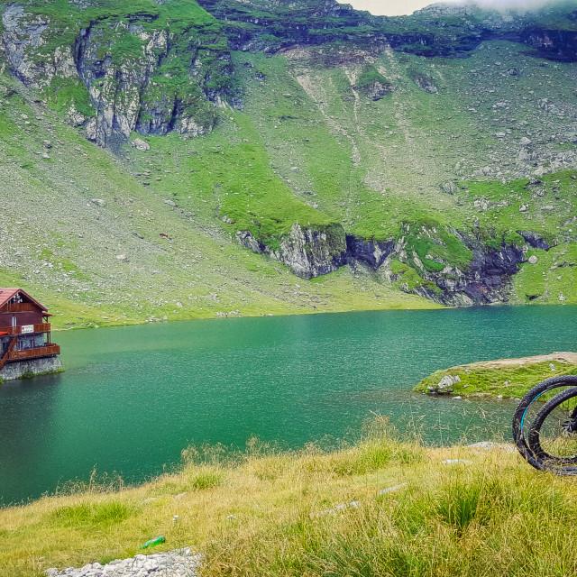 """Road trip with bikes at Balea Lake"" stock image"
