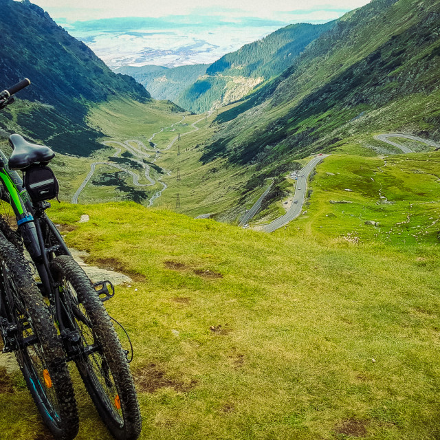 """On top of Transfagarasan road with bikes"" stock image"