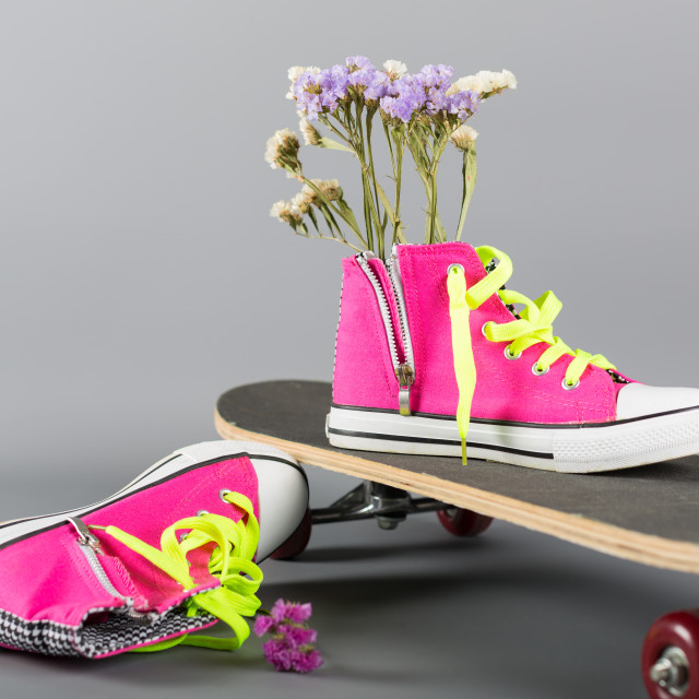 """Sneakers and skateboard"" stock image"