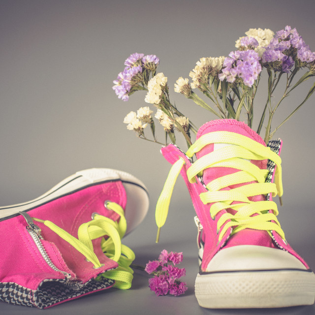 """""""Sports shoes with flowers"""" stock image"""