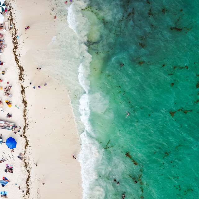 """""""Aerial view of Playa del Carmen public beach in Quintana roo, Mexico"""" stock image"""