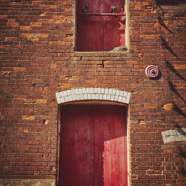 """""""Red wooden door"""" stock image"""