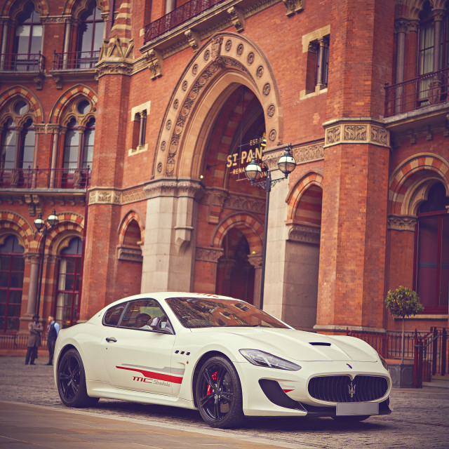 """White car outside St. Pancras Station"" stock image"