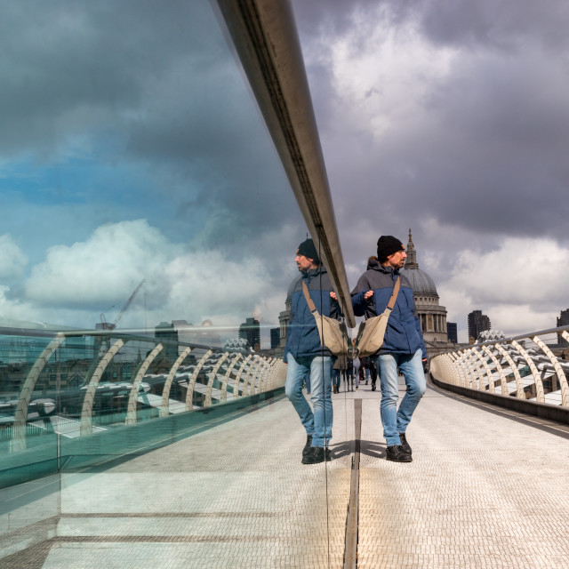 """Reflection, Millennium Bridge, London"" stock image"
