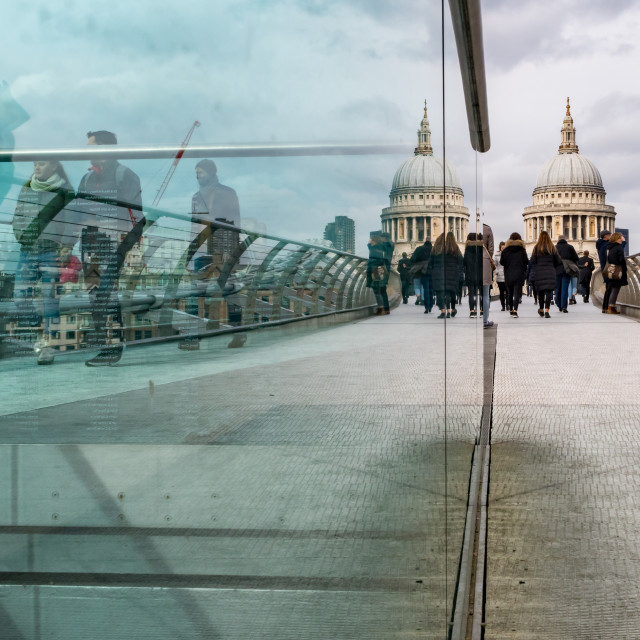 """Millennium Bridge reflection, London"" stock image"