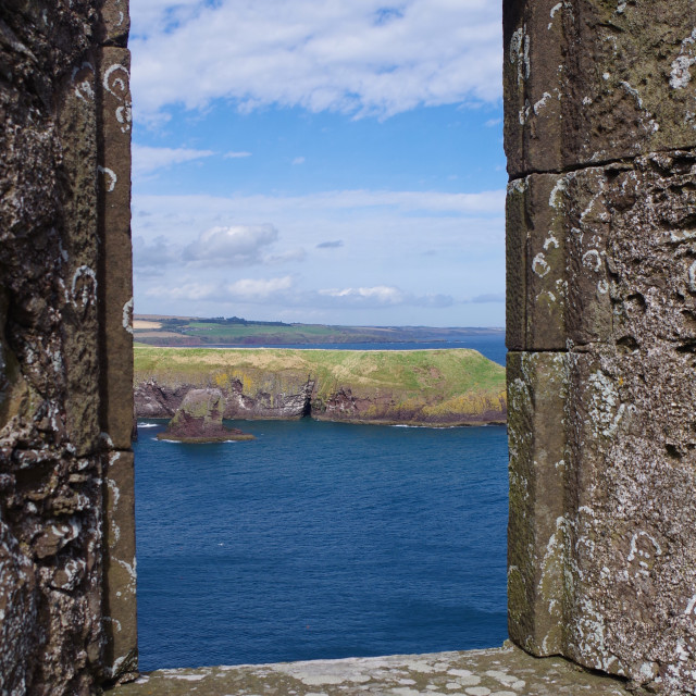 """Framed Seascape, Dunnottar Castle."" stock image"
