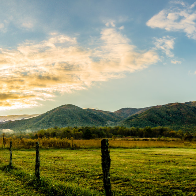 """Cades Cove Sunrise"" stock image"