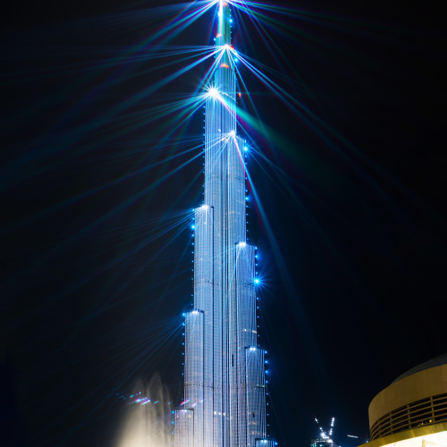 """Laser show on Burj Khailfa, curently the world tallest building"" stock image"