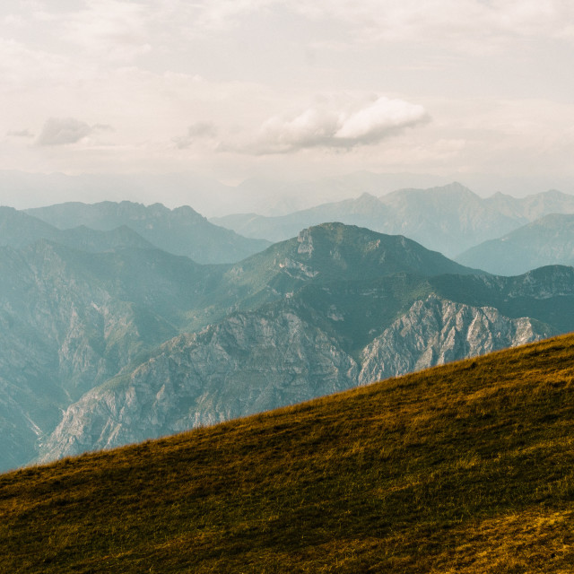 """panoramic view from Monte Baldo in Italy"" stock image"