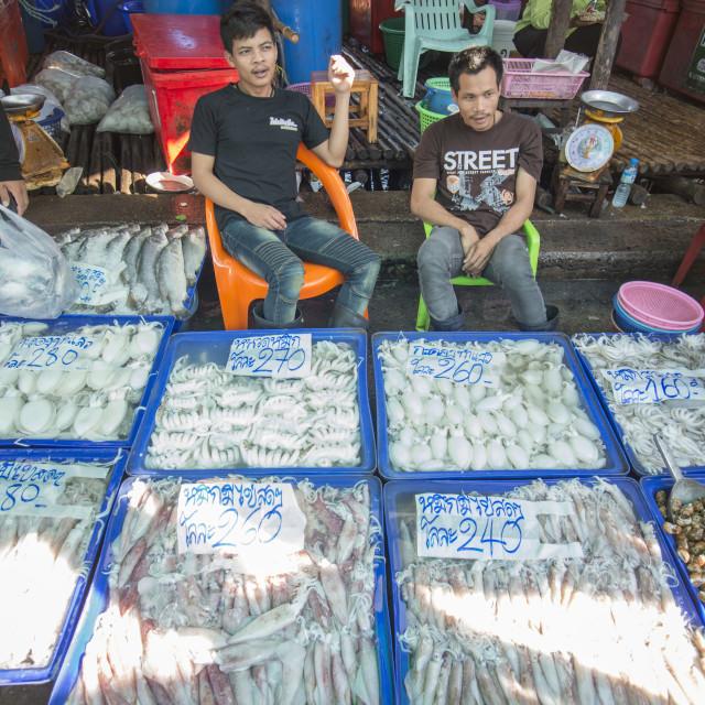 """""""THAILAND CHONBURI ANG SILA FISH MARKET"""" stock image"""