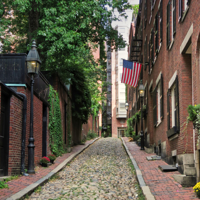 """Acorn Street, Boston"" stock image"