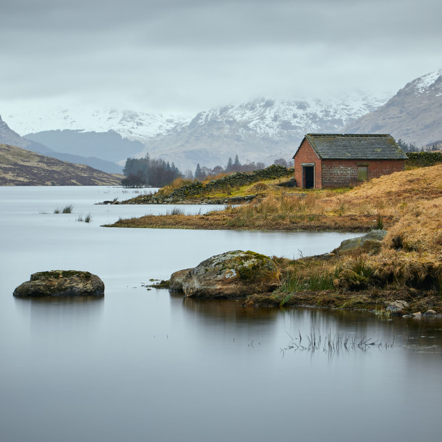 """Boathouse on Loch Arklet"" stock image"