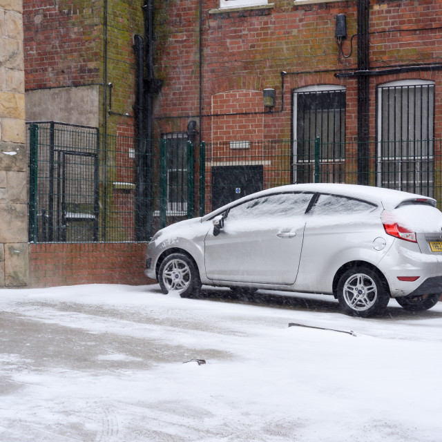 """Parked Car in Snow"" stock image"