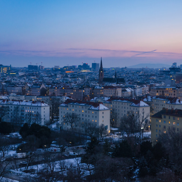 """""""A winter evening sets over Vienna"""" stock image"""