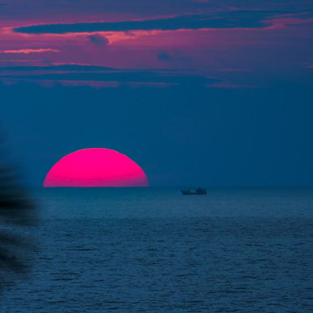 """crimson sunset"" stock image"