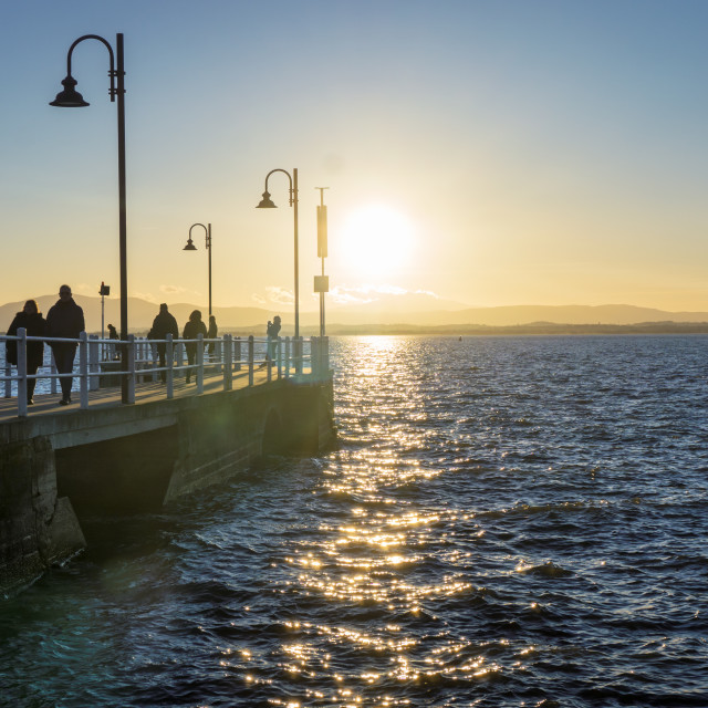 """Pier and promenade at dusk"" stock image"