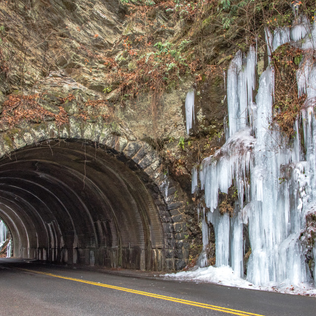 """Icy tunnel, Great Smoky Mountains National Park"" stock image"