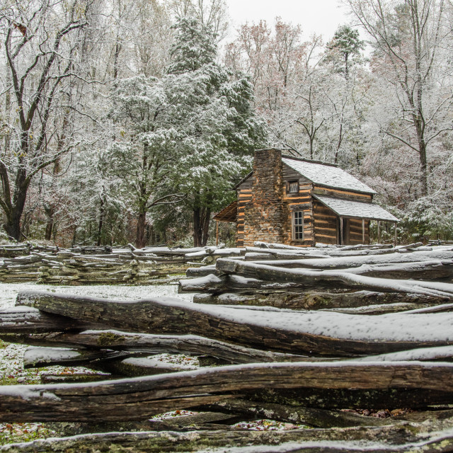 """John Oliver Cabin in an Early Autumn Snow"" stock image"
