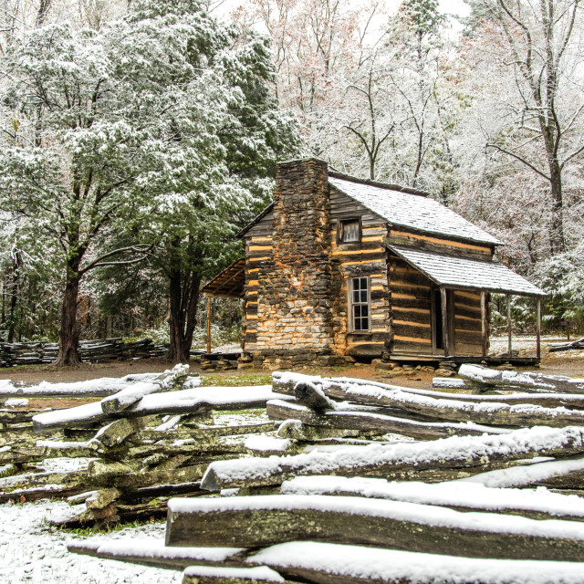 """""""John Oliver Cabin in an Early Autumn Snow"""" stock image"""