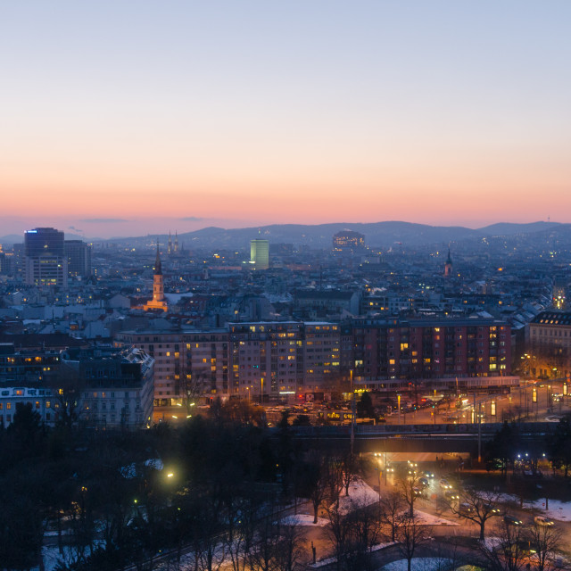 """""""Vienna city lights at sunset in winter"""" stock image"""