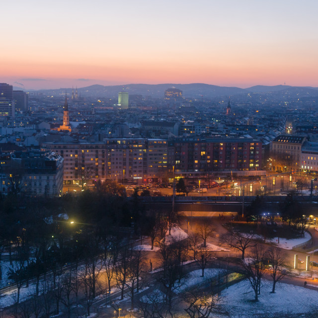 """""""The illuminated city of Vienna in the evening"""" stock image"""