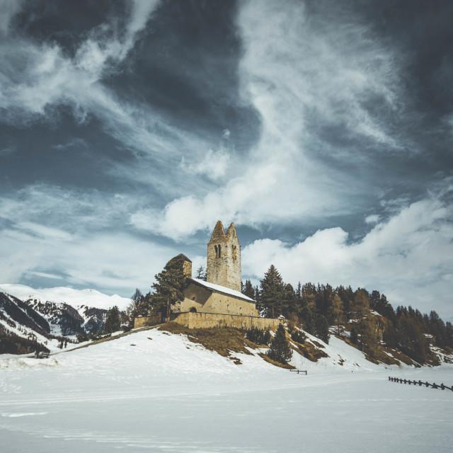 """Derelict Church, Swiss Alps"" stock image"