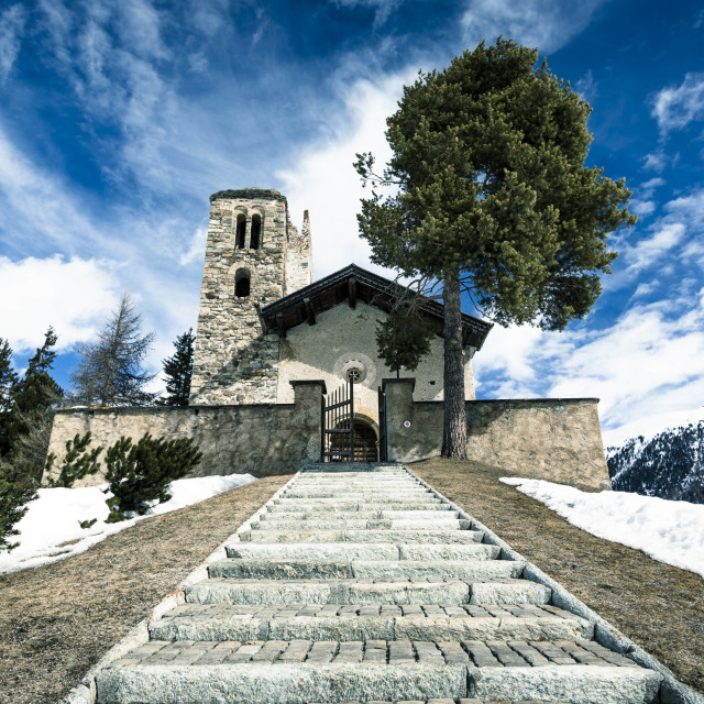 """Church in the Swiss Alps"" stock image"