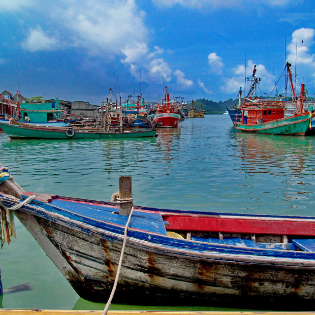 """""""Fishing boats before the storm"""" stock image"""
