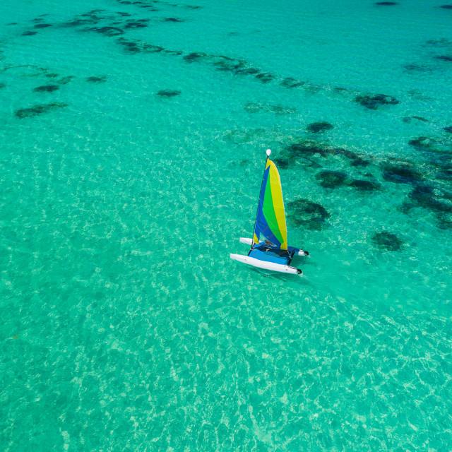 """Aerial drone view of sailing sailboat surf or catamaran in turqu"" stock image"