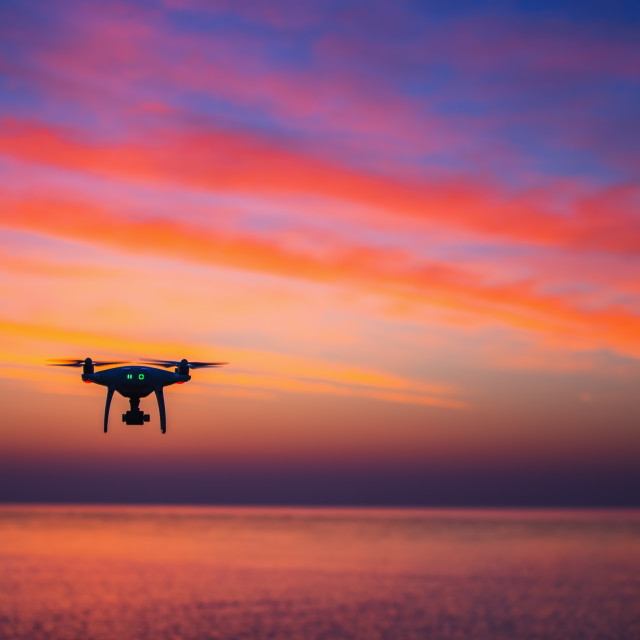 """""""Flying dron over the sea"""" stock image"""