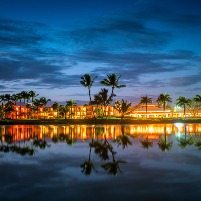"""""""Tropical golf course at sunset in Dominican Republic, Punta Cana"""" stock image"""