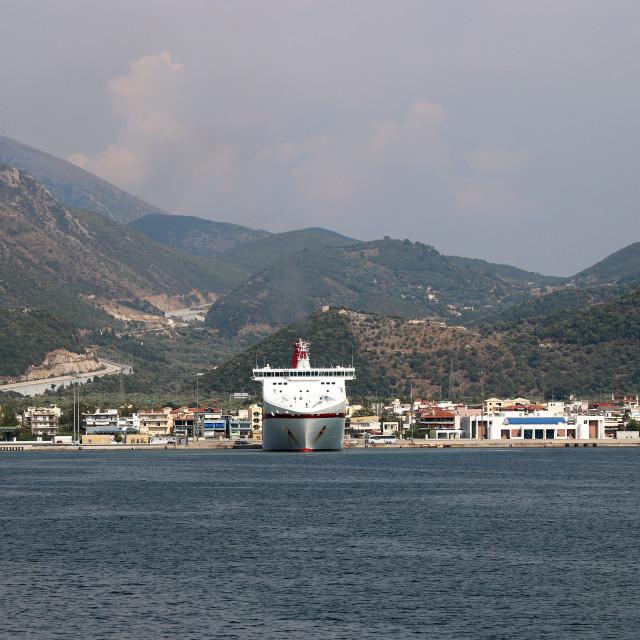 """Igoumenitsa port with cruiser Greece"" stock image"