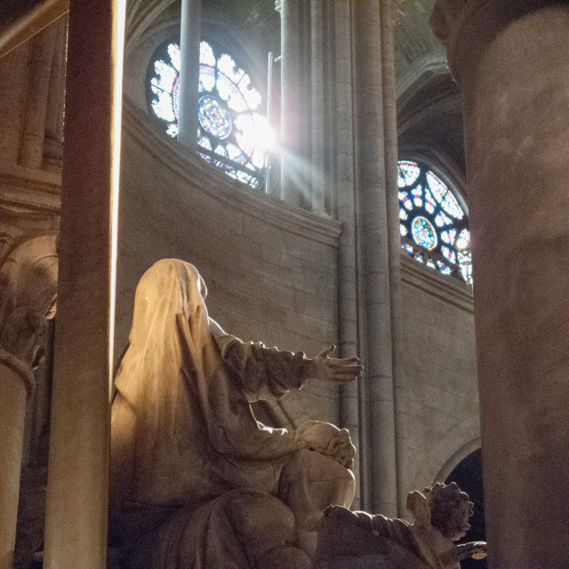 """""""Statue inside Notra Dame Cathederal"""" stock image"""