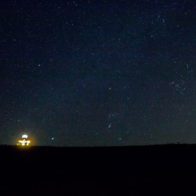 """""""Belle Tout Lighthouse and Orion"""" stock image"""
