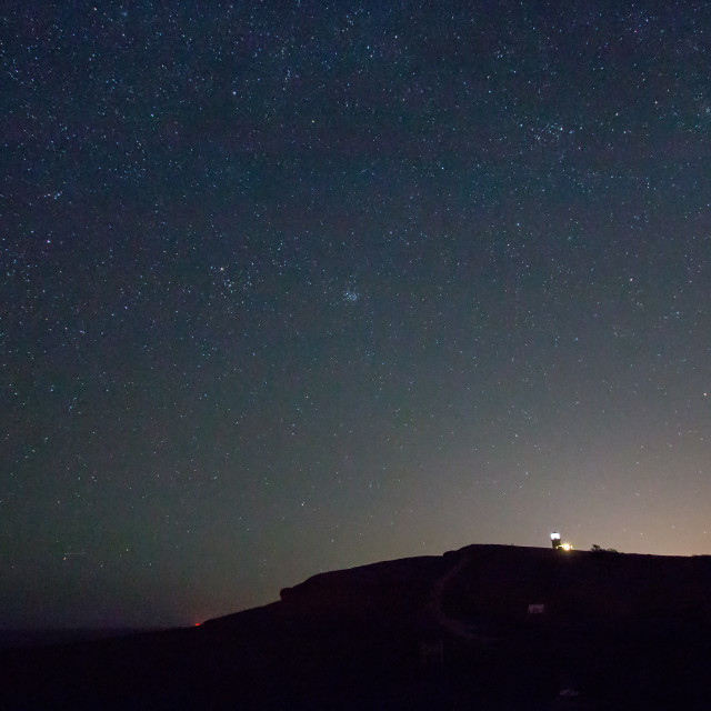 """""""Belle Tout Lighthouse and Starry Sky"""" stock image"""