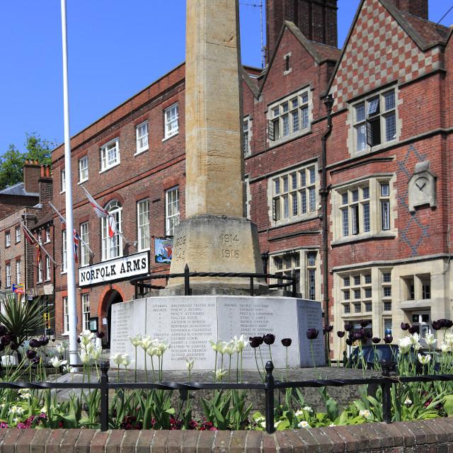 """The War Memorial, High street, Arundel town, Sussex, England, UK"" stock image"