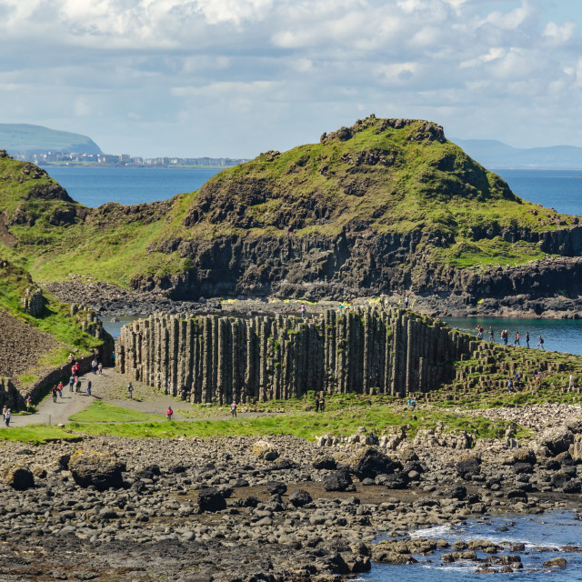 """""""Panorama of the High Columns of Giant's Causeway"""" stock image"""