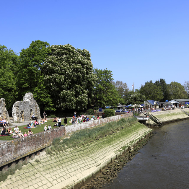 """""""Summer, river Arun and Arundel castle; Arundel town; Sussex; England; UK"""" stock image"""
