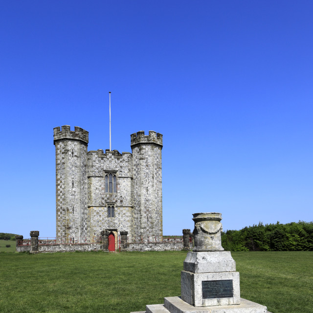 """""""The Hiorne Tower, it was built for the Duke of Norfolk, Arundel Park, Arundel..."""" stock image"""