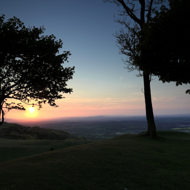 """""""Summer sunset over Chanctonbury Ring, South Downs National Park, Sussex,..."""" stock image"""