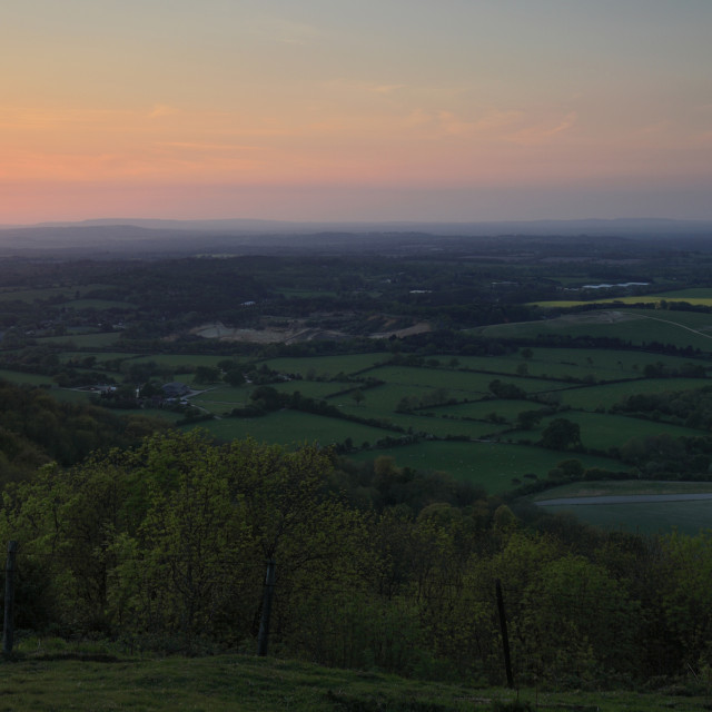 """""""Sunset from the Ditchling Beacon, South Downs National Park, Sussex County,..."""" stock image"""