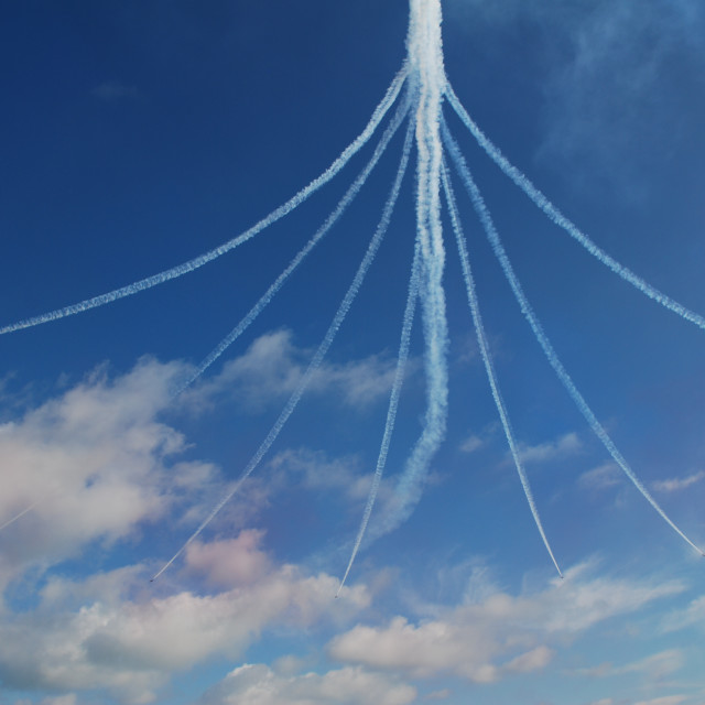 """Red Arrows smoke trails"" stock image"