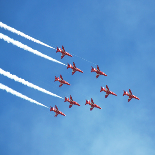 """The Red Arrows at Airbourne"" stock image"