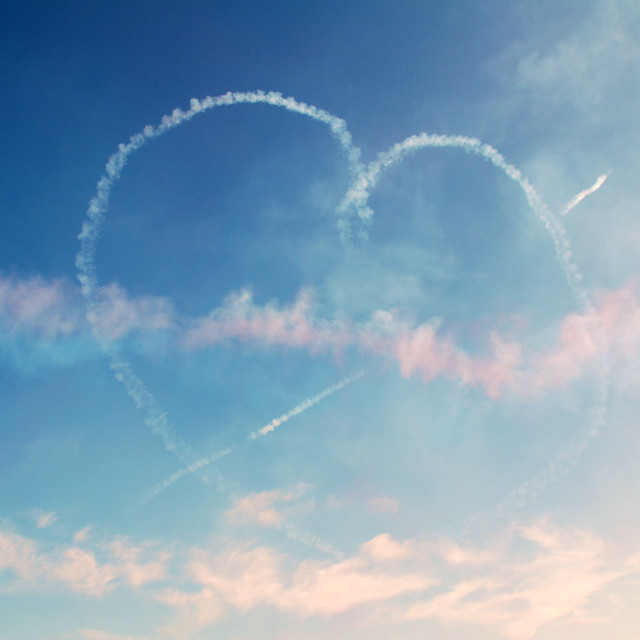 """Red Arrows heart in the sky"" stock image"