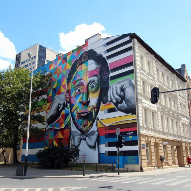 """Lodz: Artur Rubenstein mural"" stock image"