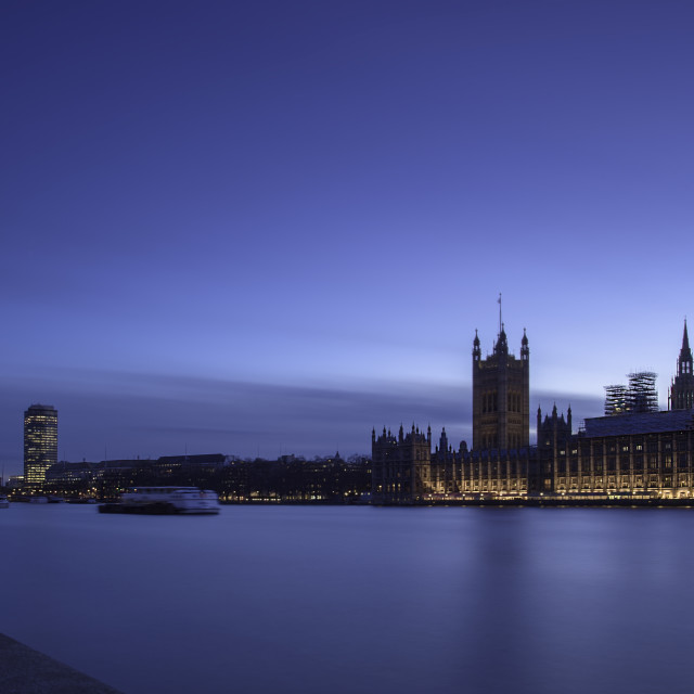 """Twilight Westminster With Nine Elms View"" stock image"
