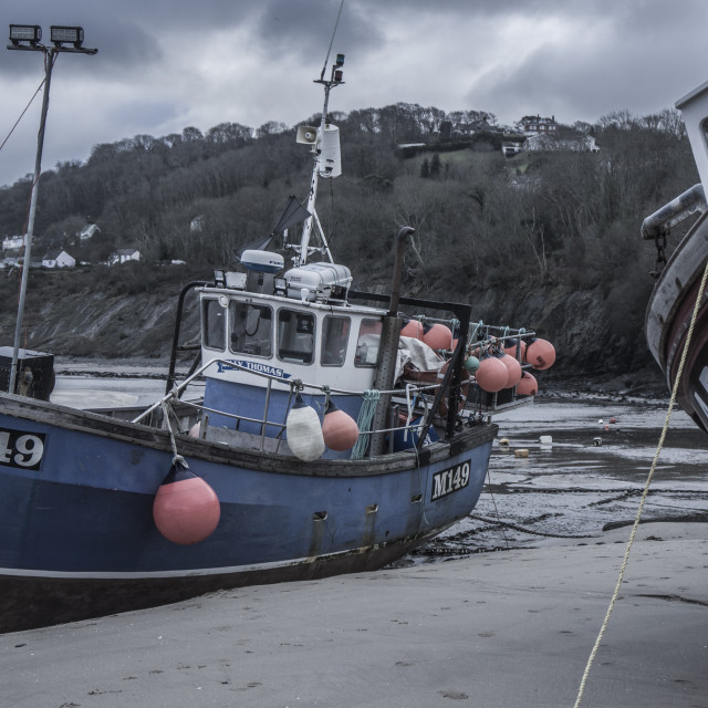 """""""Welsh harbour fishing boats"""" stock image"""