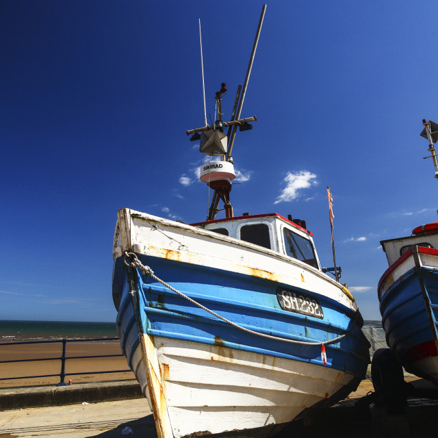 """Fishing cobles on the coble landing at filey bay yorkshire"" stock image"