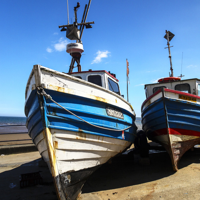 """""""Fishing cobles on the coble landing at filey bay yorkshire"""" stock image"""