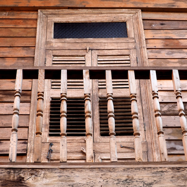 """""""Wooden balcony and closed wooden shutters"""" stock image"""